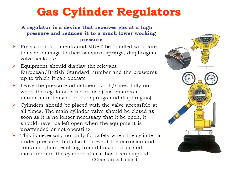 ©Consultnet Limited After the regulator is attached, the cylinder valve should be opened just enough to indicate pressure on the regulator gauge (no m