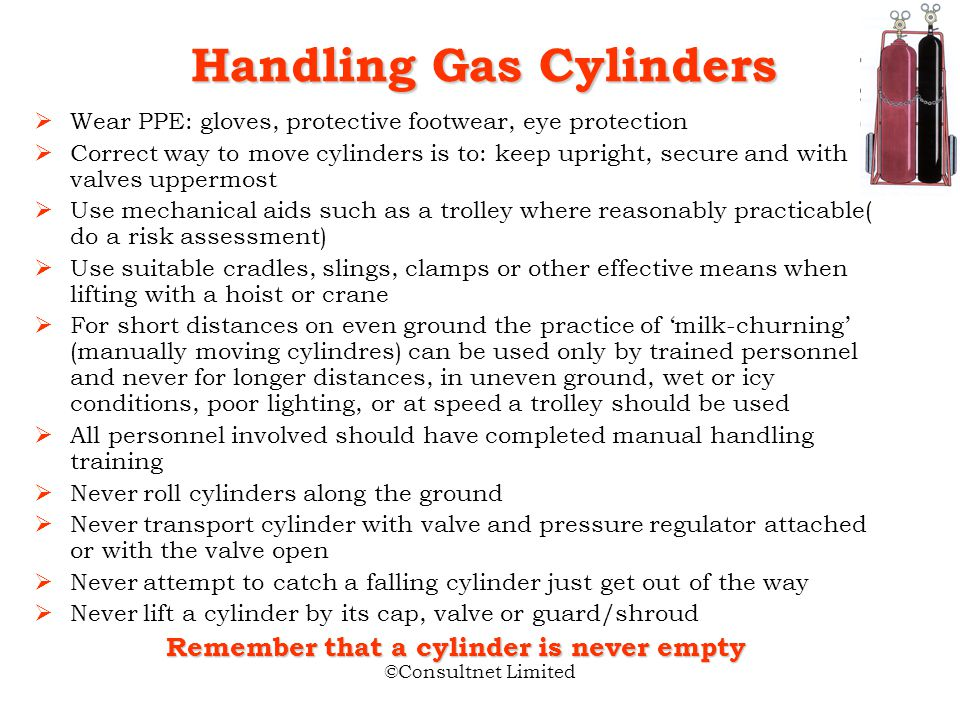 ©Consultnet Limited Acetylene Acetylene Unique properties Acetylene gas under excess pressure becomes unstable Cylinders should never be subject to in
