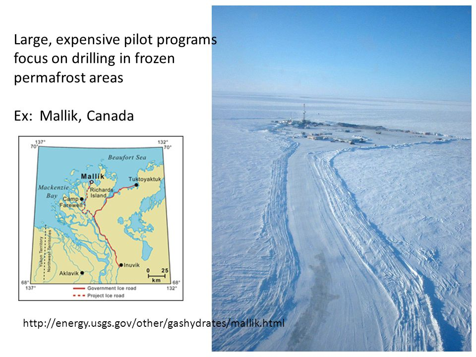 Large, expensive pilot programs focus on drilling in frozen permafrost areas Ex: Mallik, Canada http://energy.usgs.gov/other/gashydrates/mallik.html