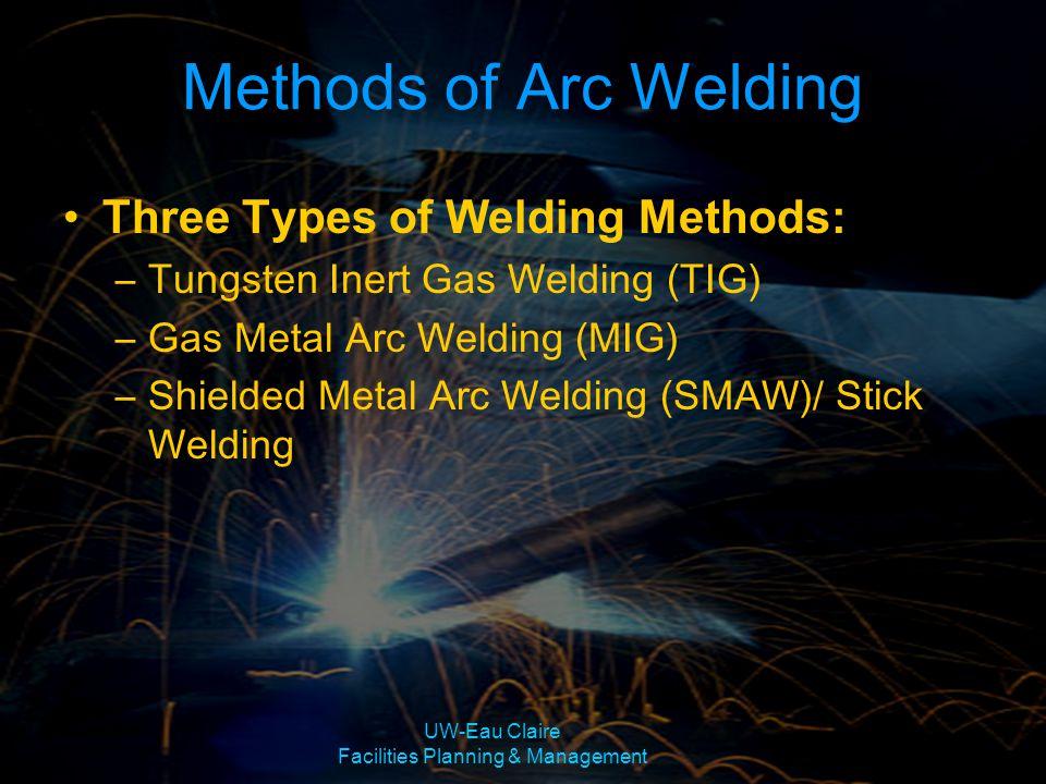 UW-Eau Claire Facilities Planning & Management Methods of Arc Welding Three Types of Welding Methods: –Tungsten Inert Gas Welding (TIG) –Gas Metal Arc
