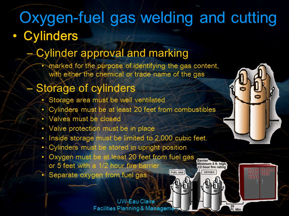 UW-Eau Claire Facilities Planning & Management Cylinders –Cylinder approval and marking marked for the purpose of identifying the gas content, with ei