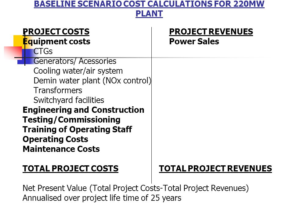 BASELINE SCENARIO COST CALCULATIONS FOR 220MW PLANT PROJECT COSTSPROJECT REVENUES Equipment costsPower Sales CTGs Generators/ Acessories Cooling water/air system Demin water plant (NOx control) Transformers Switchyard facilities Engineering and Construction Testing/Commissioning Training of Operating Staff Operating Costs Maintenance Costs TOTAL PROJECT COSTS TOTAL PROJECT REVENUES Net Present Value (Total Project Costs-Total Project Revenues) Annualised over project life time of 25 years