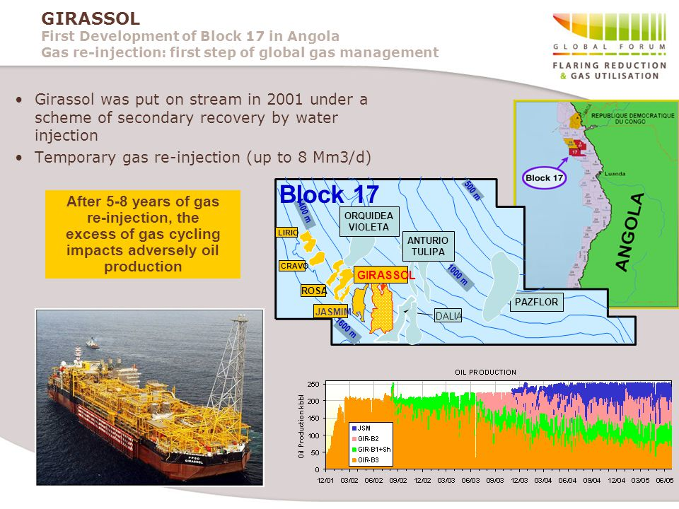 GIRASSOL First Development of Block 17 in Angola Gas re-injection: first step of global gas management Girassol was put on stream in 2001 under a scheme of secondary recovery by water injection Temporary gas re-injection (up to 8 Mm3/d) 1600 m 500 m 1400 m Block 17 DALIA 1000 m CRAVO ROSA JASMIM LIRIO PAZFLOR ANTURIO TULIPA ORQUIDEA VIOLETA GIRASSOL After 5-8 years of gas re-injection, the excess of gas cycling impacts adversely oil production
