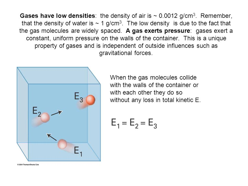Gases have low densities: the density of air is ~ 0.0012 g/cm 3.