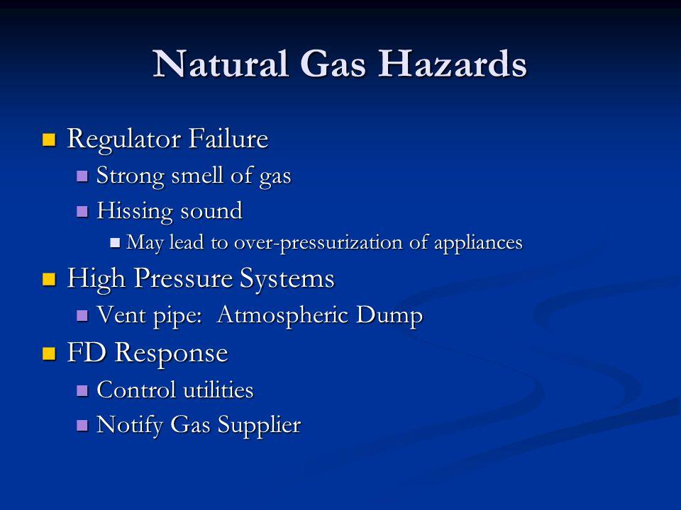 Natural Gas Hazards Regulator Failure Regulator Failure Strong smell of gas Strong smell of gas Hissing sound Hissing sound May lead to over-pressuriz