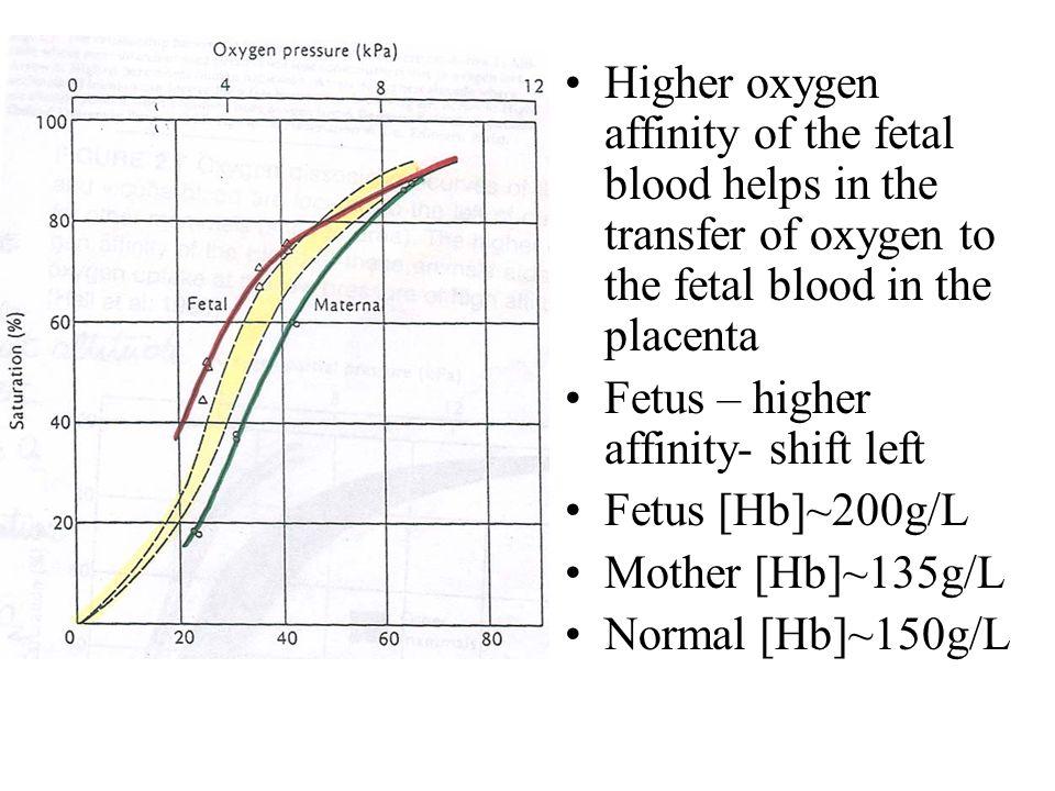 Higher oxygen affinity of the fetal blood helps in the transfer of oxygen to the fetal blood in the placenta Fetus – higher affinity- shift left Fetus