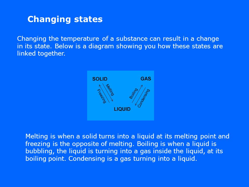 Changing states Changing the temperature of a substance can result in a change in its state.