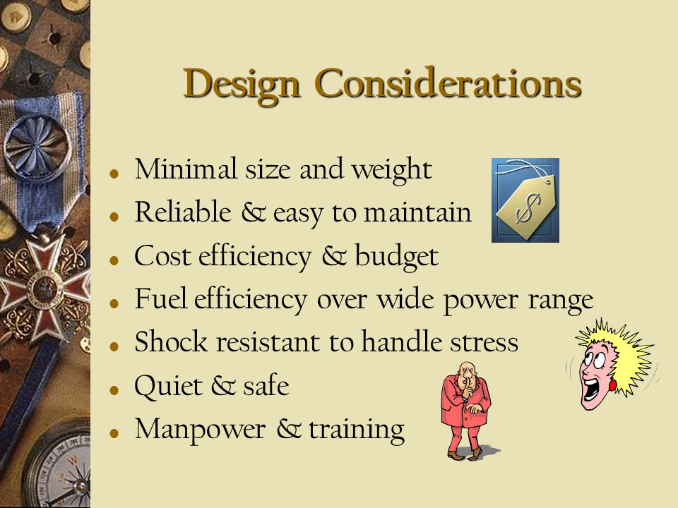 Introduction Overall, various different propulsion designs - to choose, must consider: Operational requirements Construction requirements Manpower req