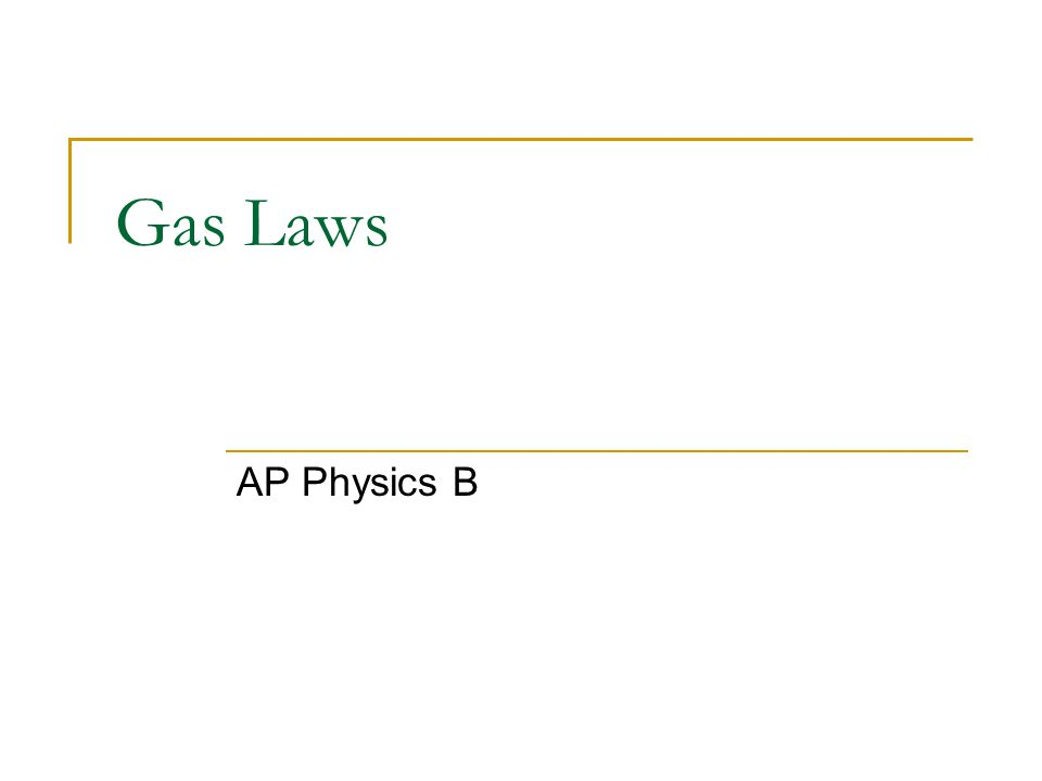 Gas Laws AP Physics B