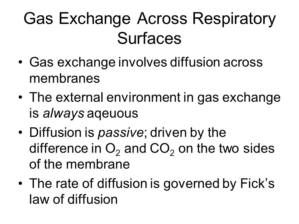 Gas Exchange Across Respiratory Surfaces Gas exchange involves diffusion across membranes The external environment in gas exchange is always aqeuous D