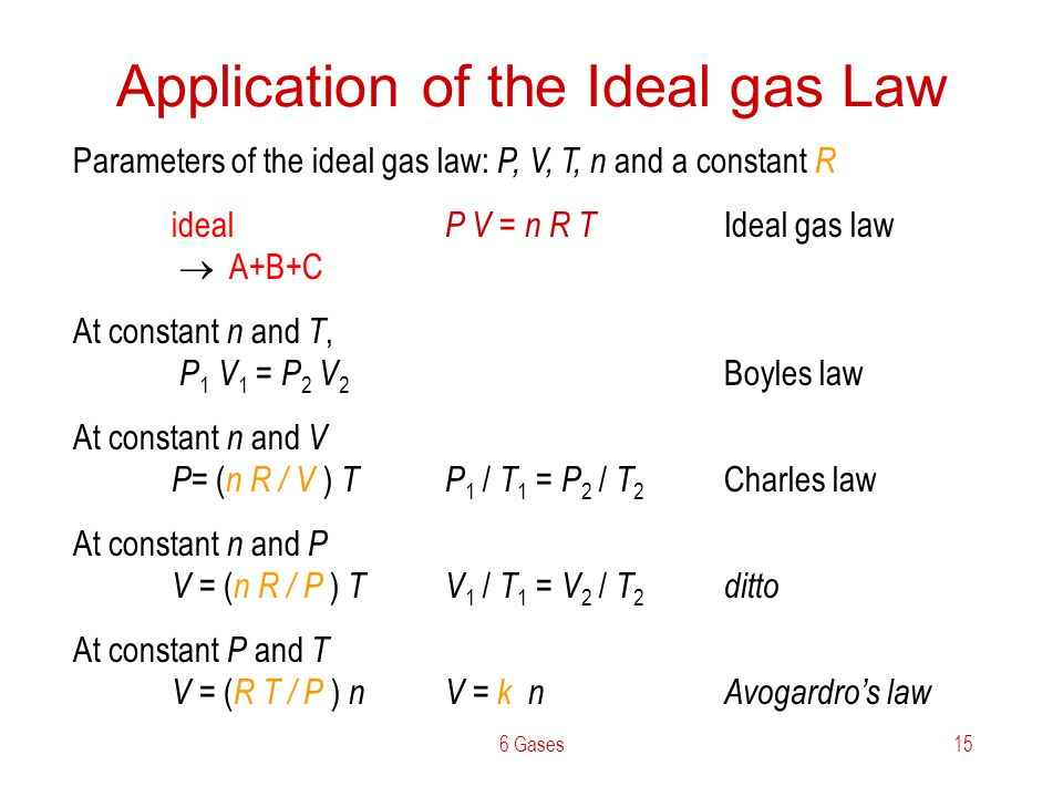 6 Gases15 Application of the Ideal gas Law Parameters of the ideal gas law: P, V, T, n and a constant R ideal P V = n R T Ideal gas law A+B+C At const