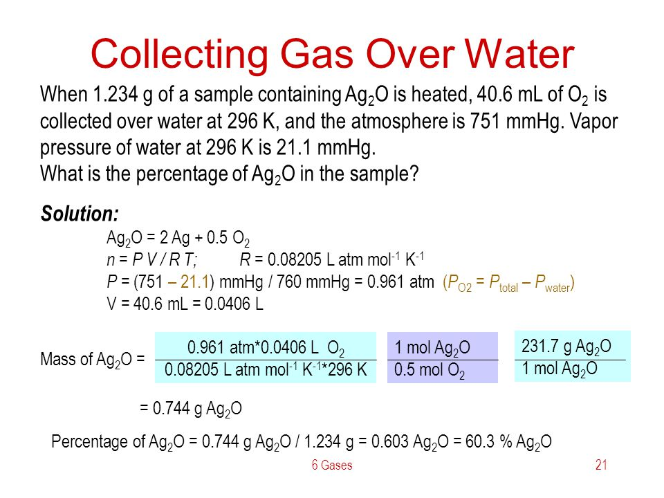 6 Gases21 Collecting Gas Over Water When 1.234 g of a sample containing Ag 2 O is heated, 40.6 mL of O 2 is collected over water at 296 K, and the atm