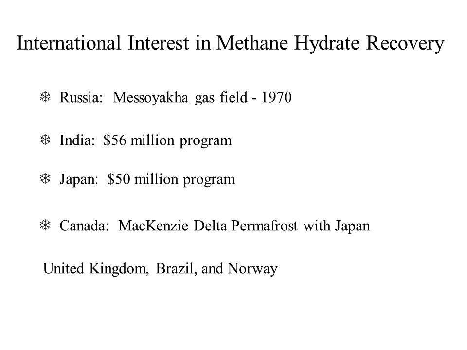 International Interest in Methane Hydrate Recovery India: $56 million program Japan: $50 million program Canada: MacKenzie Delta Permafrost with Japan United Kingdom, Brazil, and Norway Russia: Messoyakha gas field - 1970