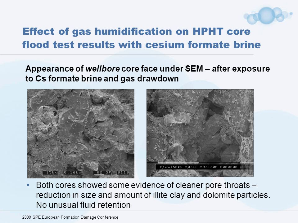 Effect of gas humidification on HPHT core flood test results with cesium formate brine 2009 SPE European Formation Damage Conference Appearance of wel