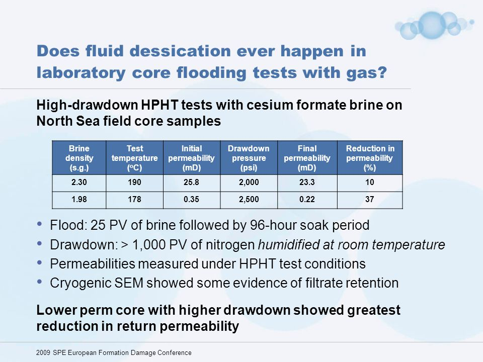 Does fluid dessication ever happen in laboratory core flooding tests with gas? High-drawdown HPHT tests with cesium formate brine on North Sea field c