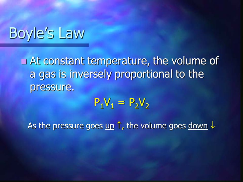 Charles Law At constant pressure, the volume of a gas is directly proportional to its temperature in Kelvins At constant pressure, the volume of a gas is directly proportional to its temperature in Kelvins V 1 = V 2 T 1 T 2 T 1 T 2 As the temperature goes up, the volume goes up As the temperature goes up, the volume goes up