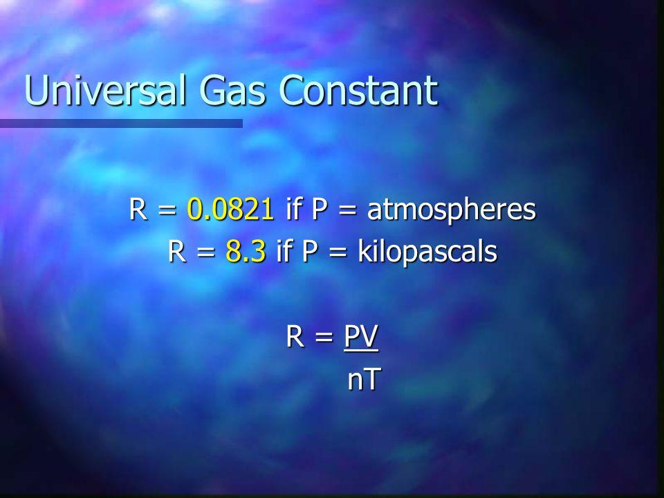 Ideal Gas Law: PV = nRT Pressure (P) Pressure (P) Volume (V) Volume (V) Moles (n) Moles (n) Temperature (T) Temperature (T) The universal gas constant (R) The universal gas constant (R) Atm or kPa Always liters Moles Kelvins 0.0821 ( P in atm) or 8.3 (P in kPa)