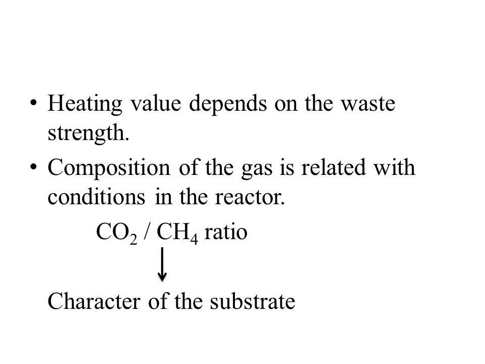 Heating value depends on the waste strength. Composition of the gas is related with conditions in the reactor. CO 2 / CH 4 ratio Character of the subs