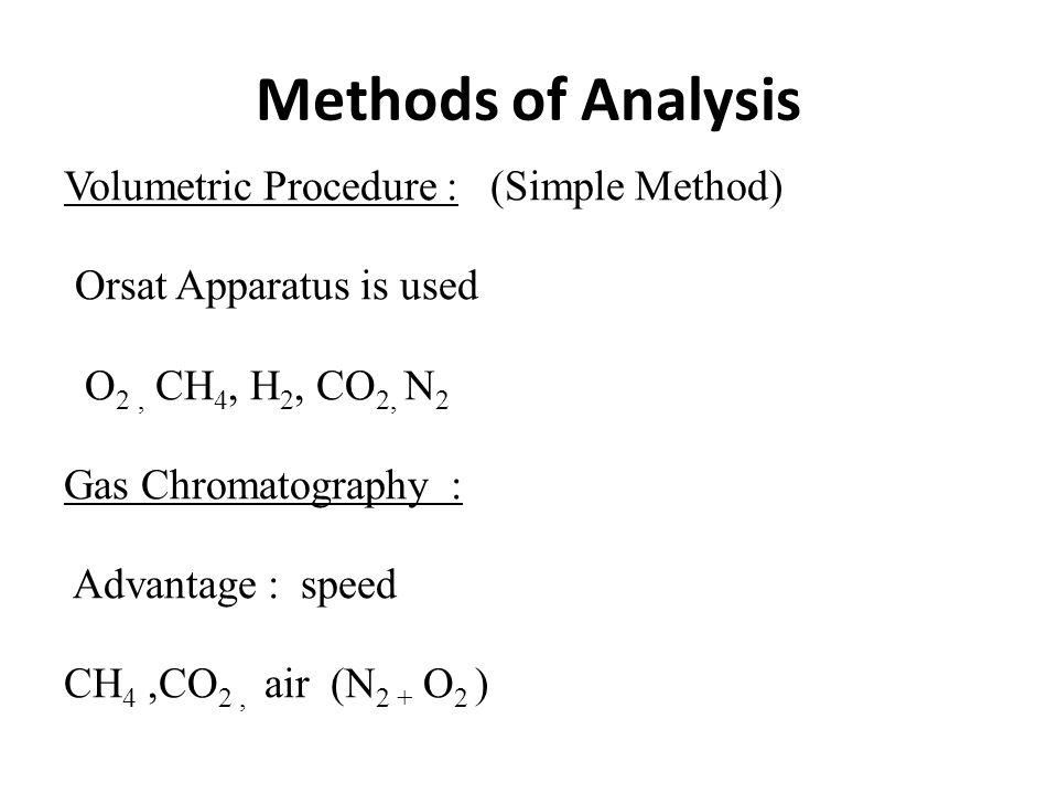 Nitrogen Inert gas V N2 = V T - (V CO2 + V O2 + V H2 + V CH4 )