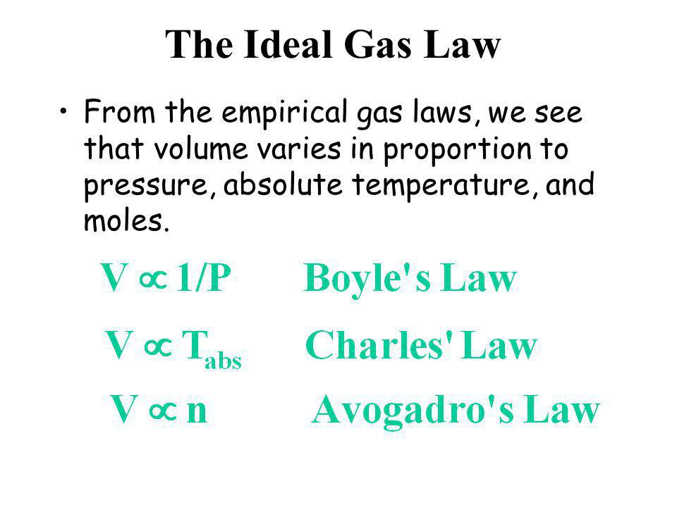 The Ideal Gas Law From the empirical gas laws, we see that volume varies in proportion to pressure, absolute temperature, and moles.