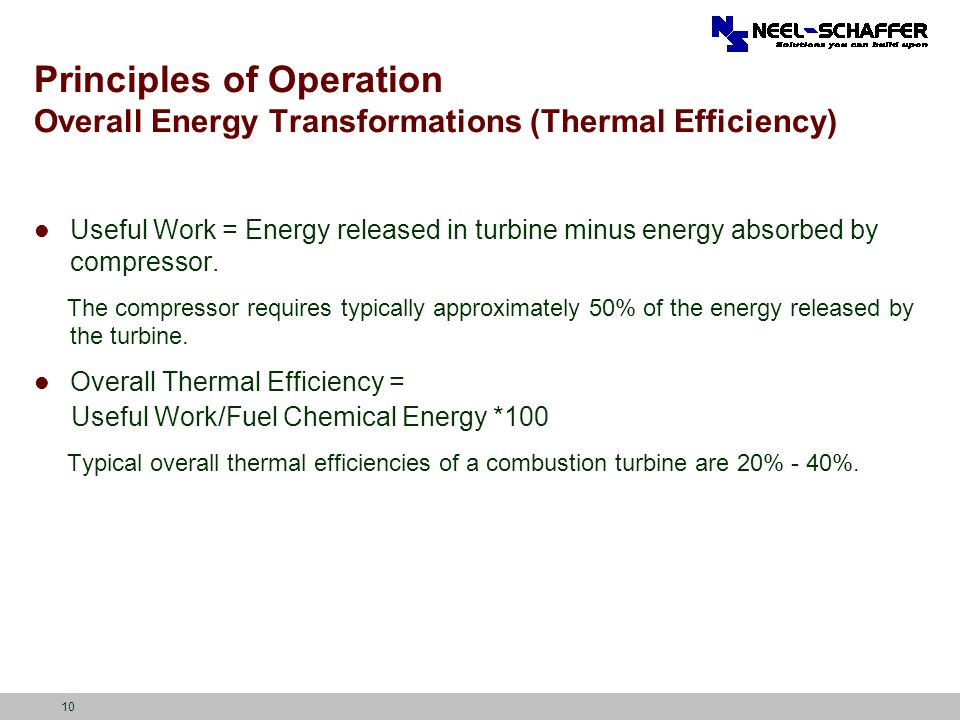 10 Principles of Operation Overall Energy Transformations (Thermal Efficiency) Useful Work = Energy released in turbine minus energy absorbed by compr