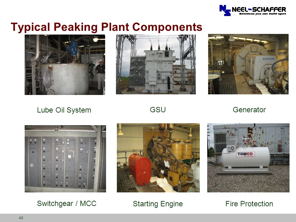 40 Typical Peaking Plant Components Lube Oil System GSUGenerator Fire ProtectionStarting Engine Switchgear / MCC