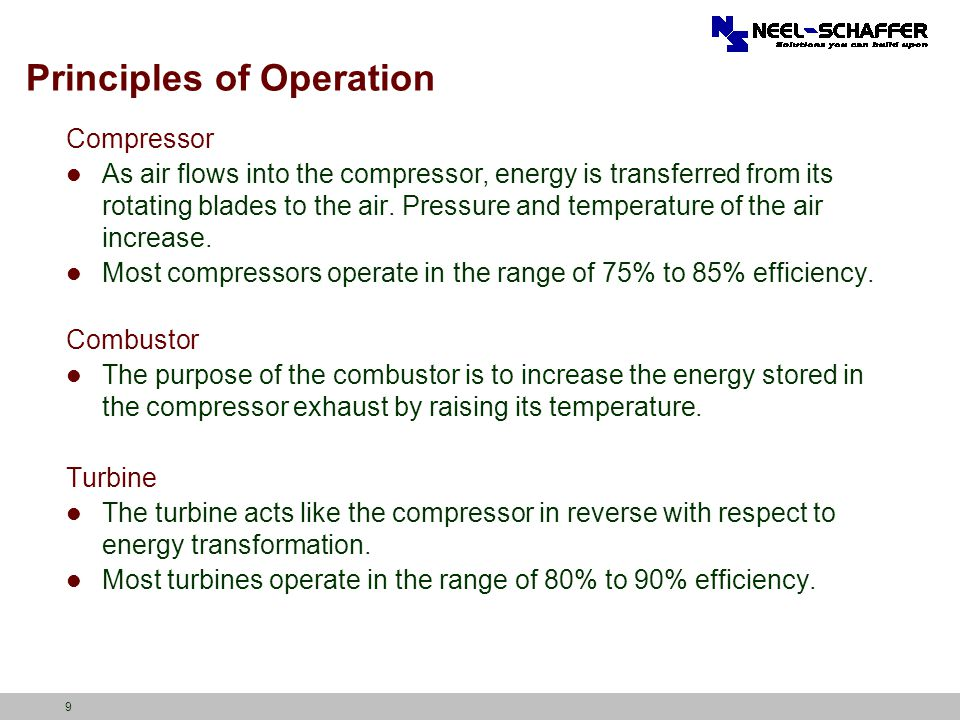 9 Principles of Operation Compressor As air flows into the compressor, energy is transferred from its rotating blades to the air. Pressure and tempera