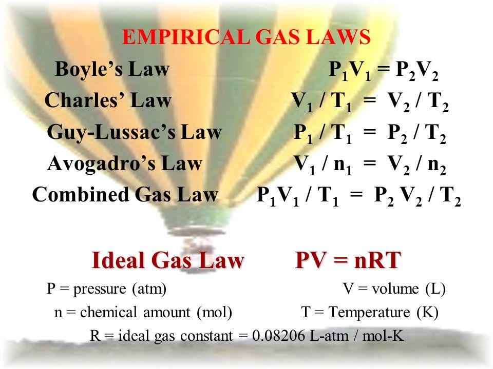 EMPIRICAL GAS LAWS Boyles Law P 1 V 1 = P 2 V 2 Charles LawV 1 / T 1 = V 2 / T 2 Guy-Lussacs LawP 1 / T 1 = P 2 / T 2 Avogadros LawV 1 / n 1 = V 2 / n