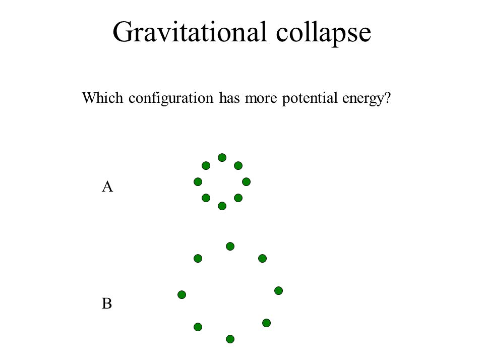 Gravitational collapse A Which configuration has more potential energy? B