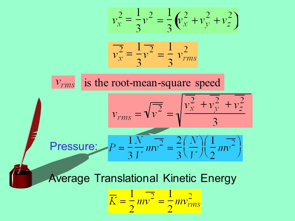 Pressure: Average Translational Kinetic Energy: is the root-mean-square speed