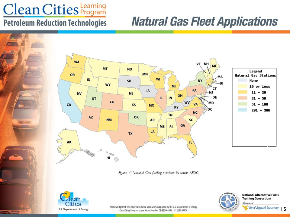 15 Figure 4: Natural Gas fueling stations by state. AFDC.