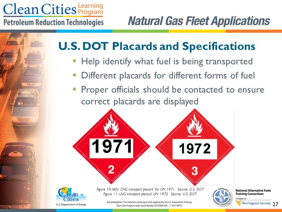 27 U.S. DOT Placards and Specifications Help identify what fuel is being transported Different placards for different forms of fuel Proper officials s