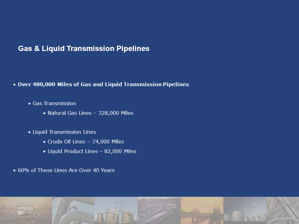Over 480,000 Miles of Gas and Liquid Transmission Pipelines Gas Transmission Natural Gas Lines – 328,000 Miles Liquid Transmission Lines Crude Oil Lines – 74,000 Miles Liquid Product Lines – 82,000 Miles 60% of These Lines Are Over 40 Years Gas & Liquid Transmission Pipelines