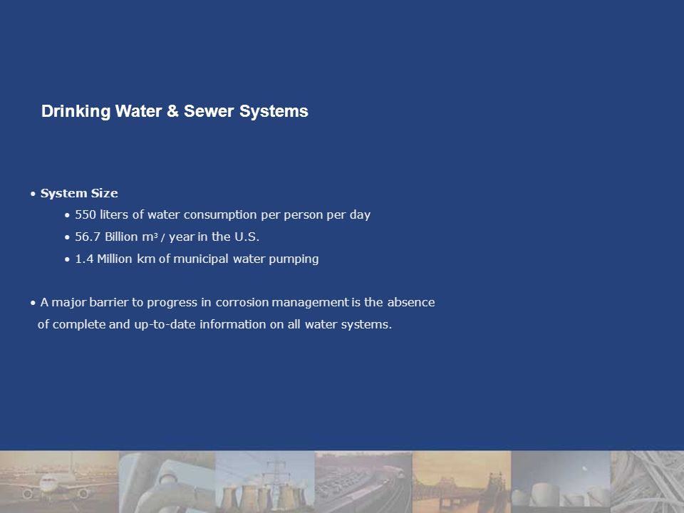 System Size 550 liters of water consumption per person per day 56.7 Billion m 3 / year in the U.S.