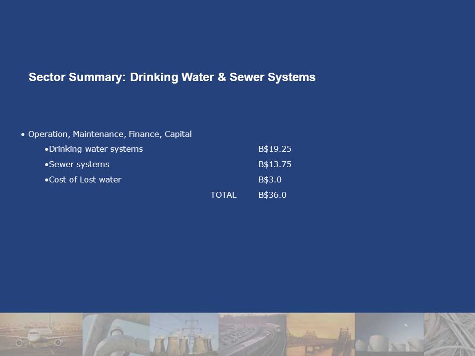 Operation, Maintenance, Finance, Capital Drinking water systemsB$19.25 Sewer systemsB$13.75 Cost of Lost waterB$3.0 TOTALB$36.0 Sector Summary: Drinking Water & Sewer Systems