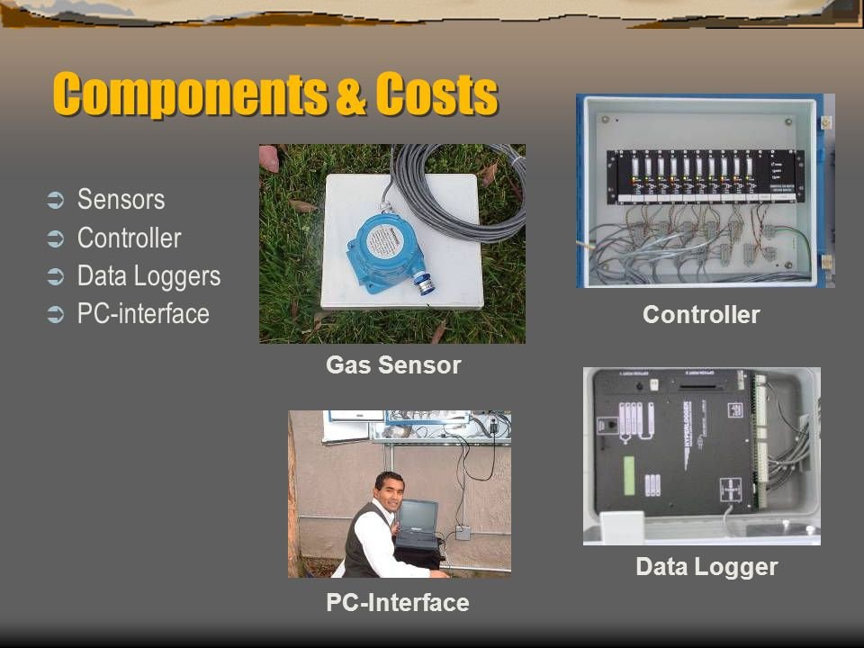 Components & Costs Sensors Controller Data Loggers PC-interface Gas Sensor Controller Data Logger PC-Interface