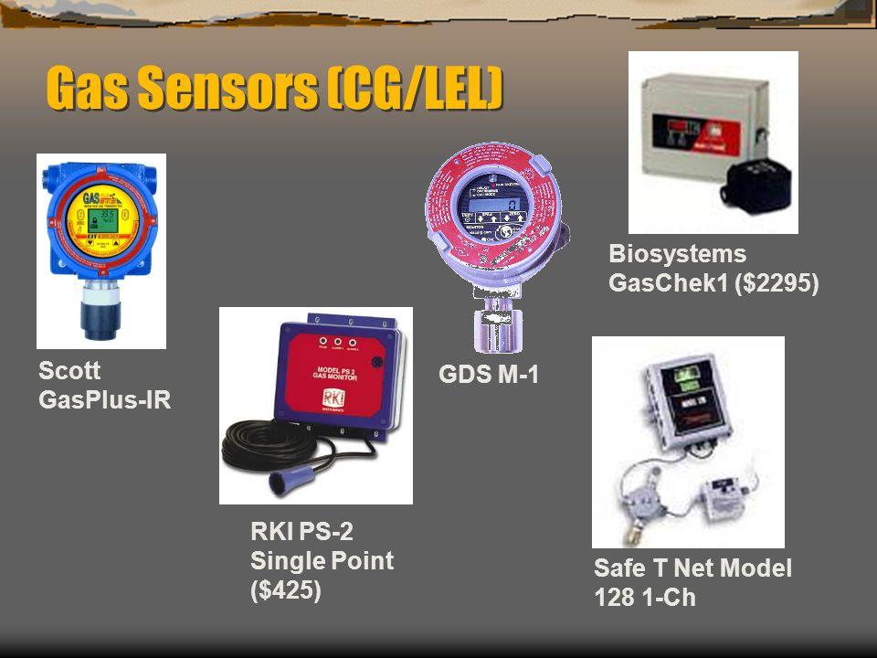 Gas Sensors (CG/LEL) RKI PS-2 Single Point ($425) GDS M-1 Safe T Net Model 128 1-Ch Biosystems GasChek1 ($2295) Scott GasPlus-IR