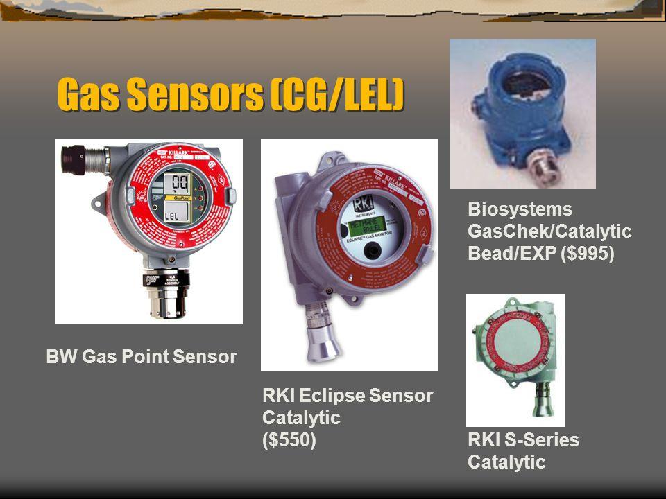 Gas Sensors (CG/LEL) BW Gas Point Sensor RKI Eclipse Sensor Catalytic ($550) RKI S-Series Catalytic Biosystems GasChek/Catalytic Bead/EXP ($995)