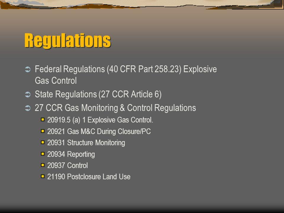 Regulations Federal Regulations (40 CFR Part 258.23) Explosive Gas Control State Regulations (27 CCR Article 6) 27 CCR Gas Monitoring & Control Regula