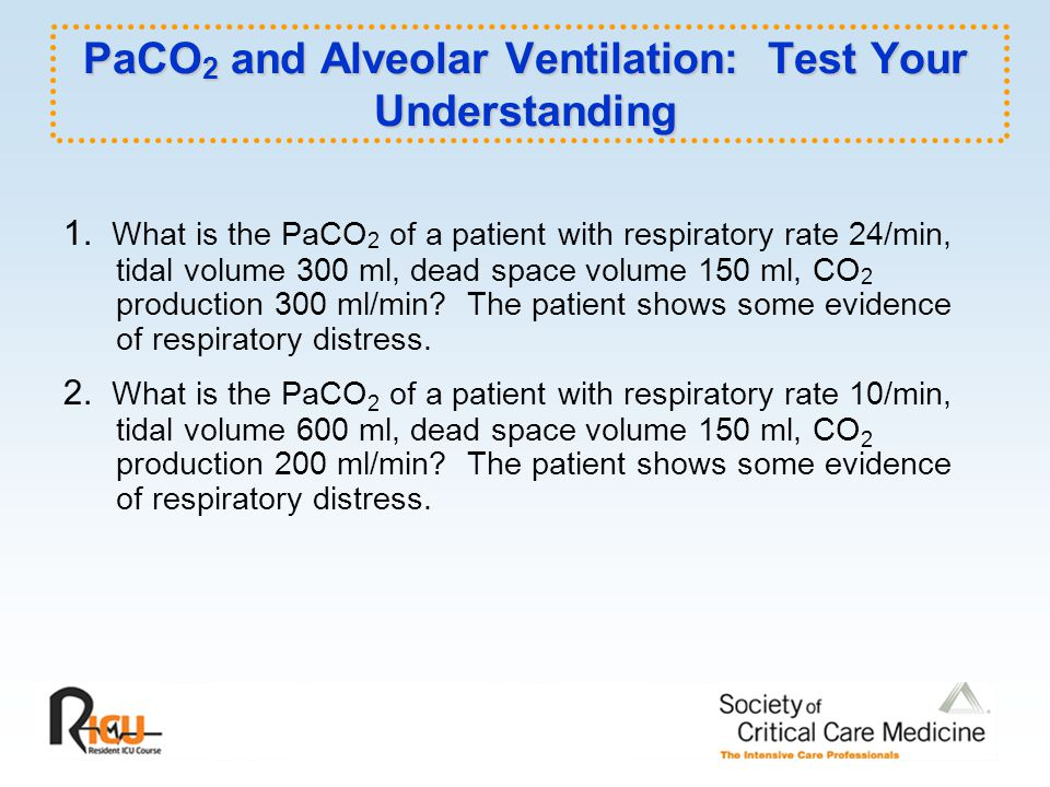 PaCO 2 and Alveolar Ventilation: Test Your Understanding 1.