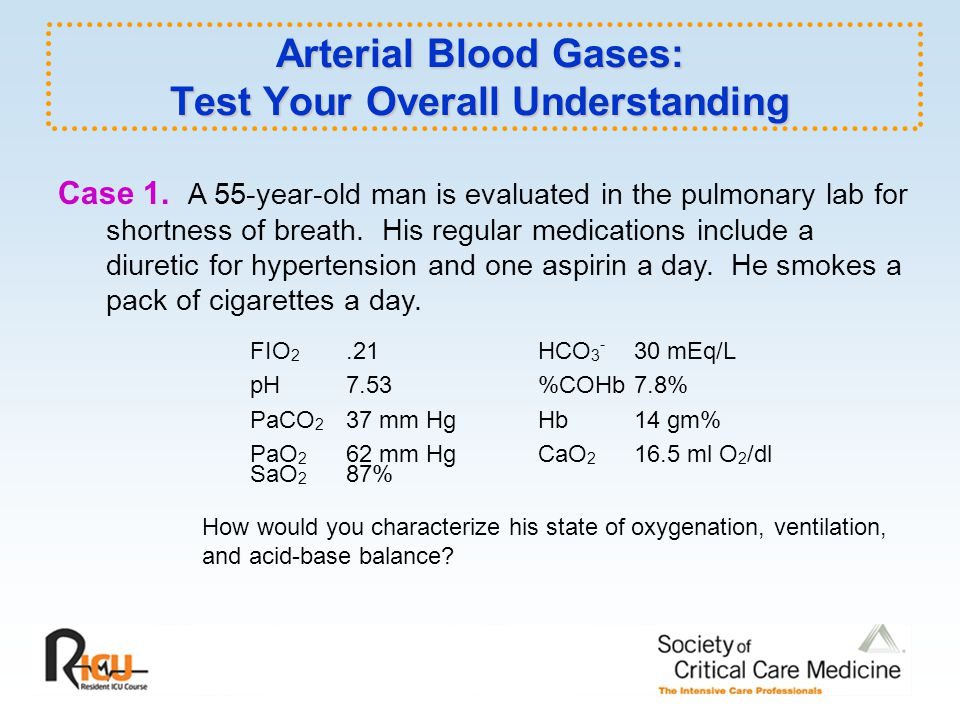 Arterial Blood Gases: Test Your Overall Understanding Case 1.