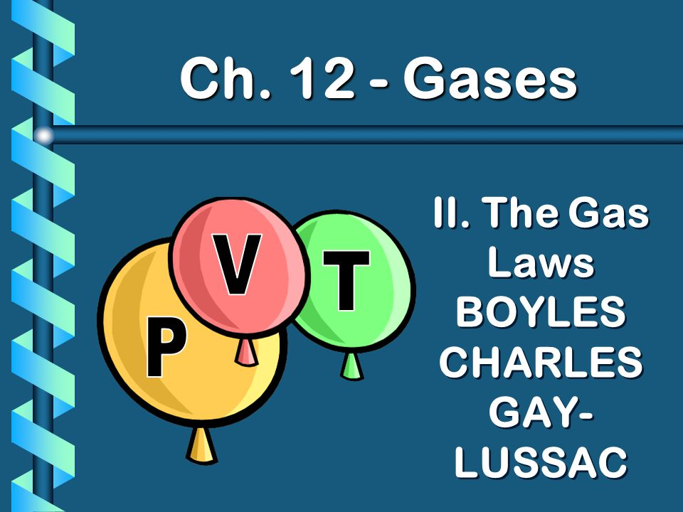 II. The Gas Laws BOYLES CHARLES GAY- LUSSAC Ch. 12 - Gases