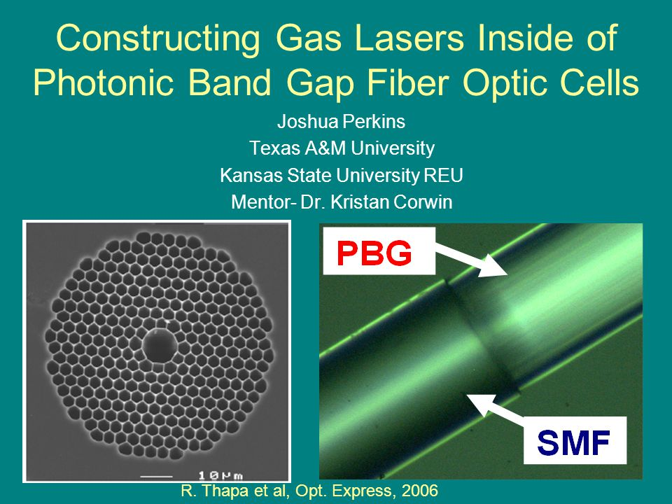 Constructing Gas Lasers Inside of Photonic Band Gap Fiber Optic Cells Joshua Perkins Texas A&M University Kansas State University REU Mentor- Dr.