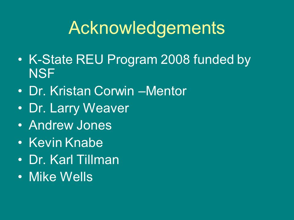 Acknowledgements K-State REU Program 2008 funded by NSF Dr. Kristan Corwin –Mentor Dr. Larry Weaver Andrew Jones Kevin Knabe Dr. Karl Tillman Mike Wel