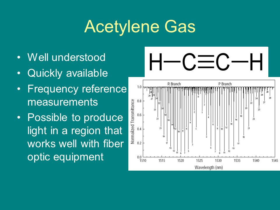 Acetylene Gas Well understood Quickly available Frequency reference measurements Possible to produce light in a region that works well with fiber optic equipment