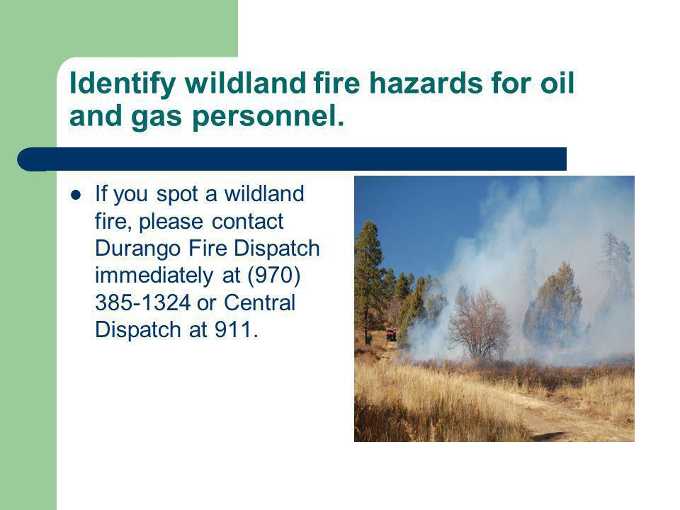 If you spot a wildland fire, please contact Durango Fire Dispatch immediately at (970) 385-1324 or Central Dispatch at 911.