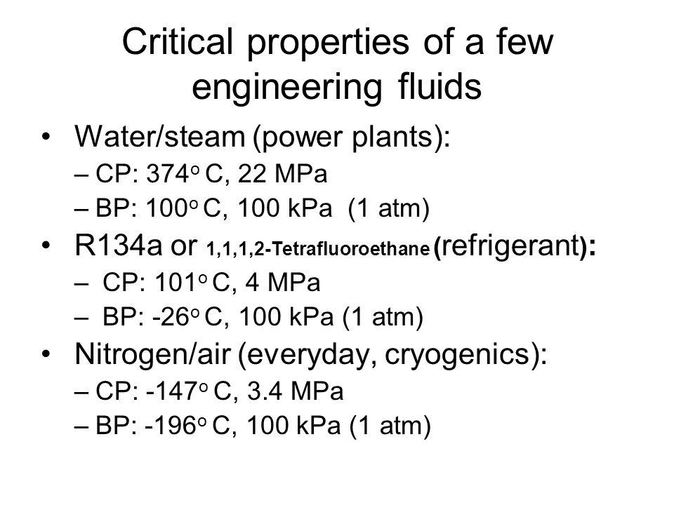 Critical properties of a few engineering fluids Water/steam (power plants): –CP: 374 o C, 22 MPa –BP: 100 o C, 100 kPa (1 atm) R134a or 1,1,1,2-Tetrafluoroethane ( refrigerant ) : – CP: 101 o C, 4 MPa – BP: -26 o C, 100 kPa (1 atm) Nitrogen/air (everyday, cryogenics): –CP: -147 o C, 3.4 MPa –BP: -196 o C, 100 kPa (1 atm)