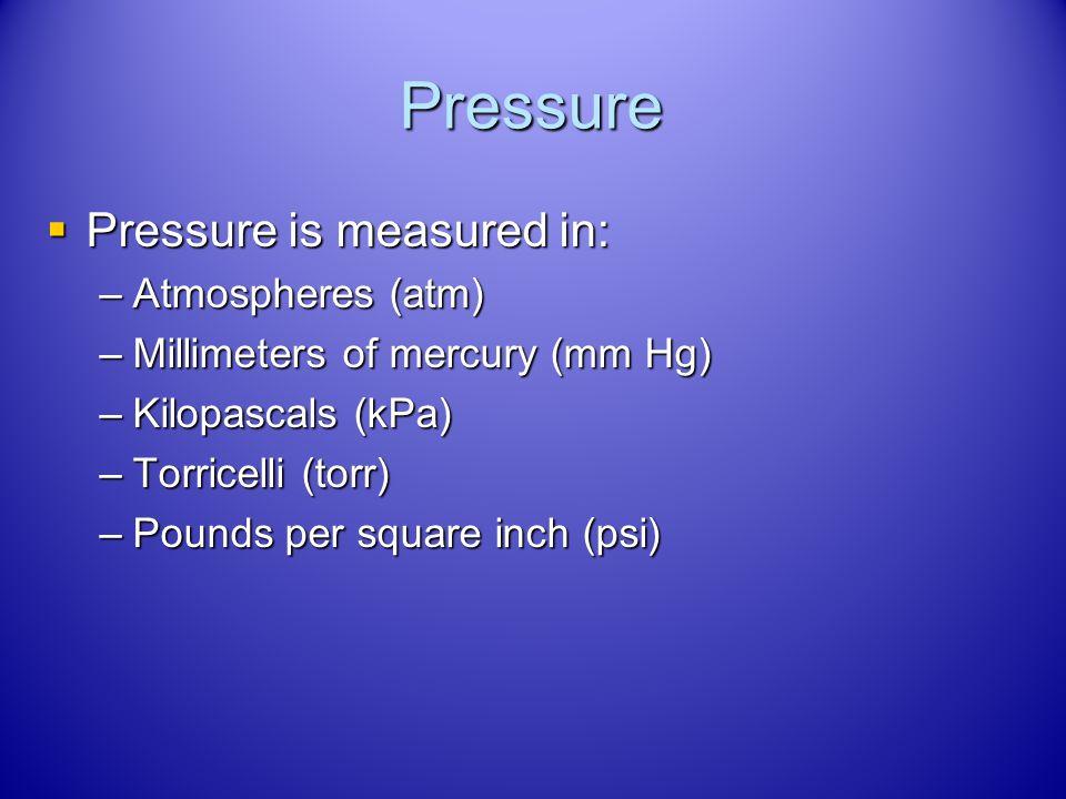 Volume Volume is measured in: Volume is measured in: –Liters (L) –Milliliters (mL) –Cubic centimeters (cm 3 or cc)