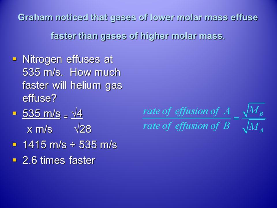 Diffusion and Effusion Grahams Lawrelationship between rate of effusion (diffusion) and molar mass Grahams Lawrelationship between rate of effusion (d