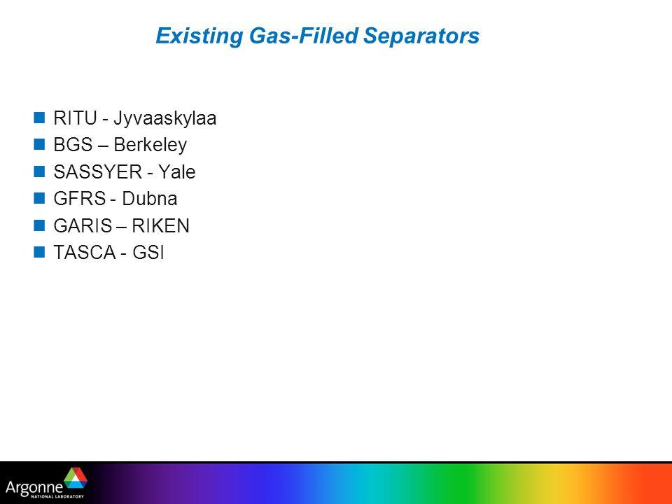 Existing Gas-Filled Separators RITU - Jyvaaskylaa BGS – Berkeley SASSYER - Yale GFRS - Dubna GARIS – RIKEN TASCA - GSI